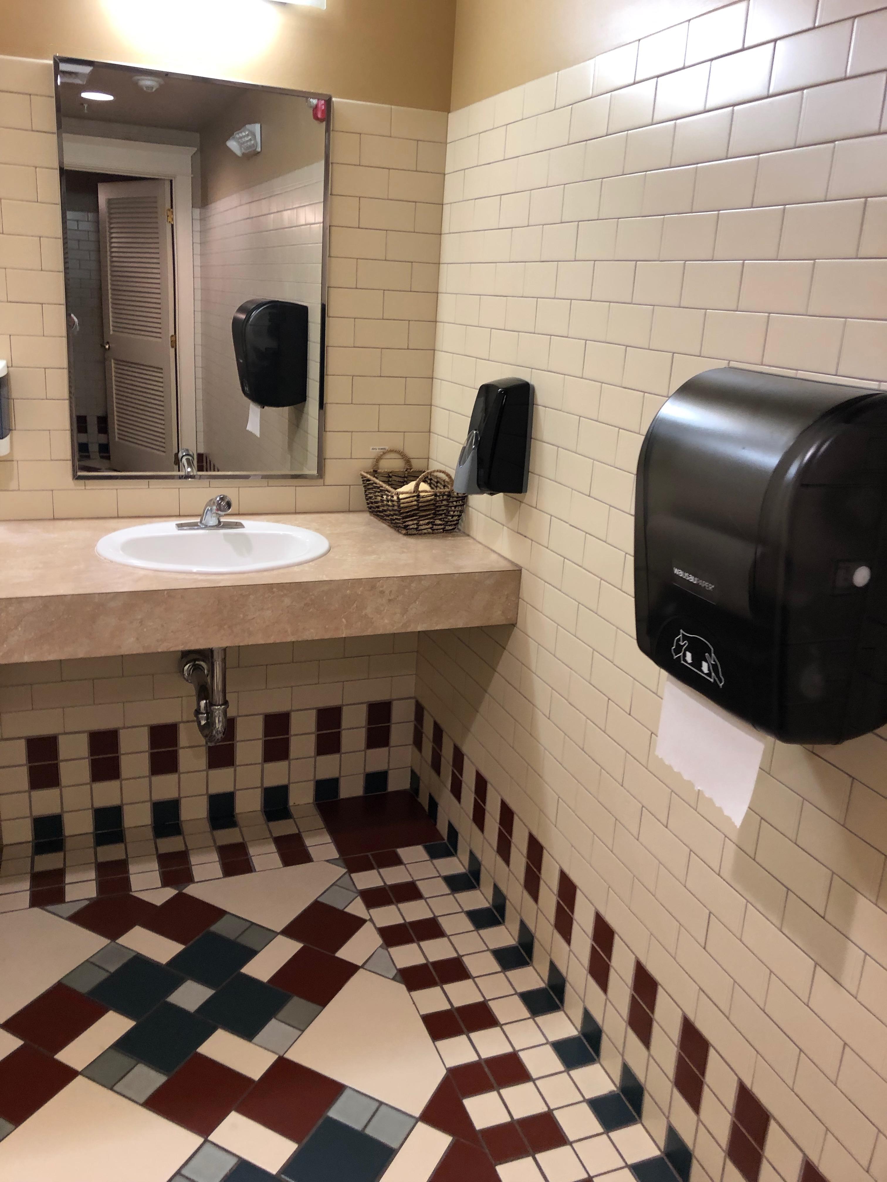 Sink in women's restroom