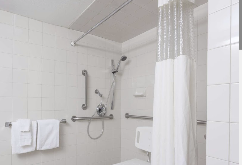 Accessible shower with bars and adjustable sprayer